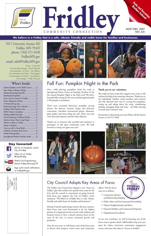 Front cover image with Pumpkin Night in the Park and Focus Areas articles