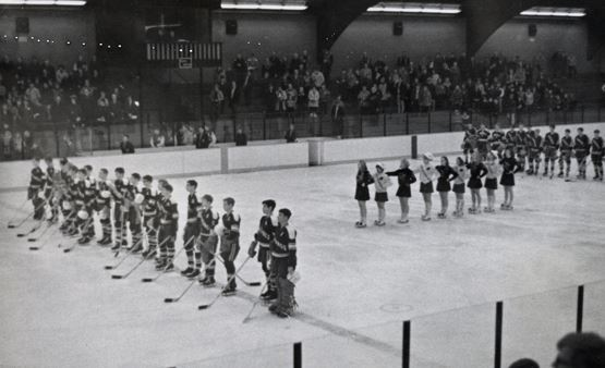 Hockey players at Columbia Arena, black and white photo